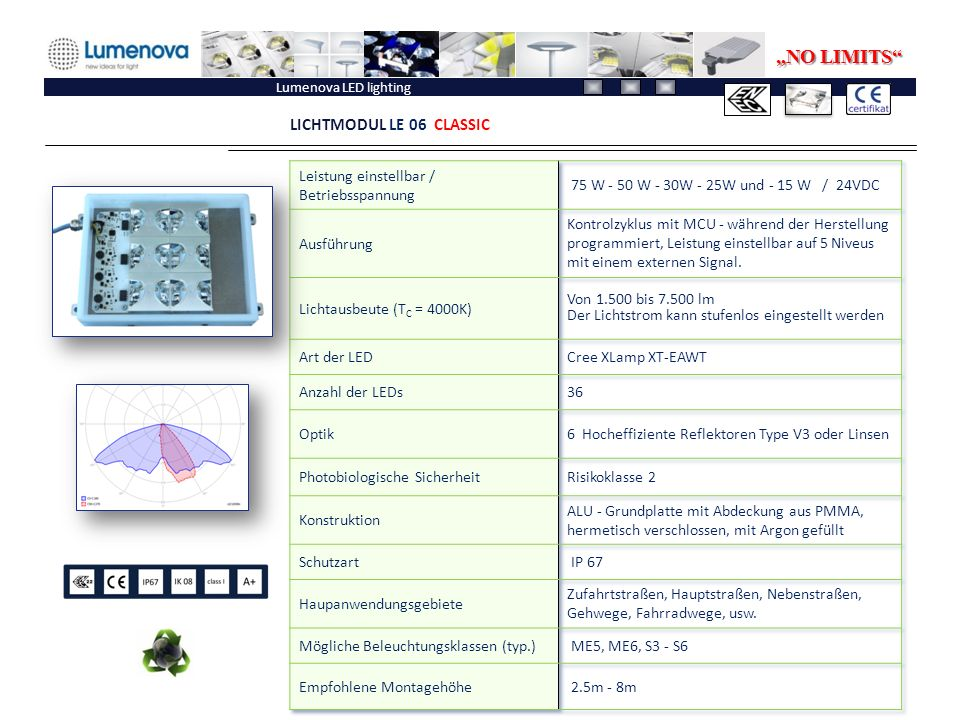 "Lumenova LED lighting LICHTMODUL LE 06 CLASSIC ""NO LIMITS"""