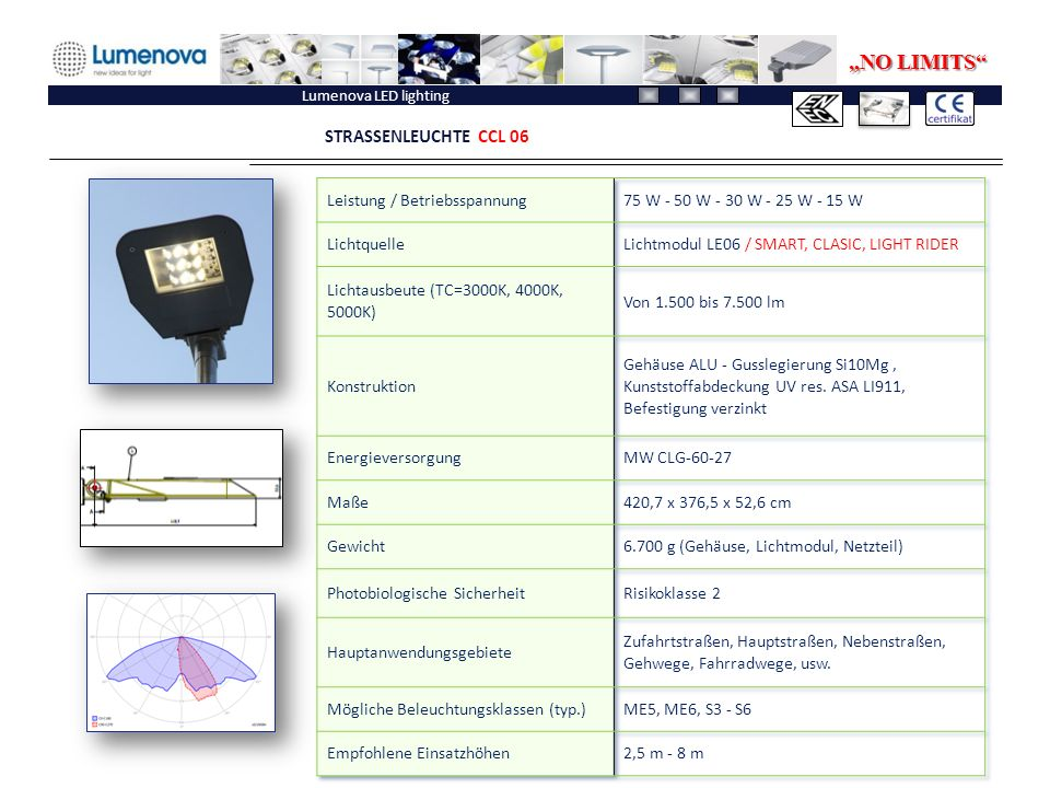 "Lumenova LED lighting STRASSENLEUCHTE CCL 06 ""NO LIMITS"