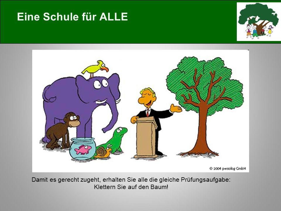 Eine Schule für ALLE Damit es gerecht zugeht, erhalten Sie alle die gleiche Prüfungsaufgabe: Klettern Sie auf den Baum!