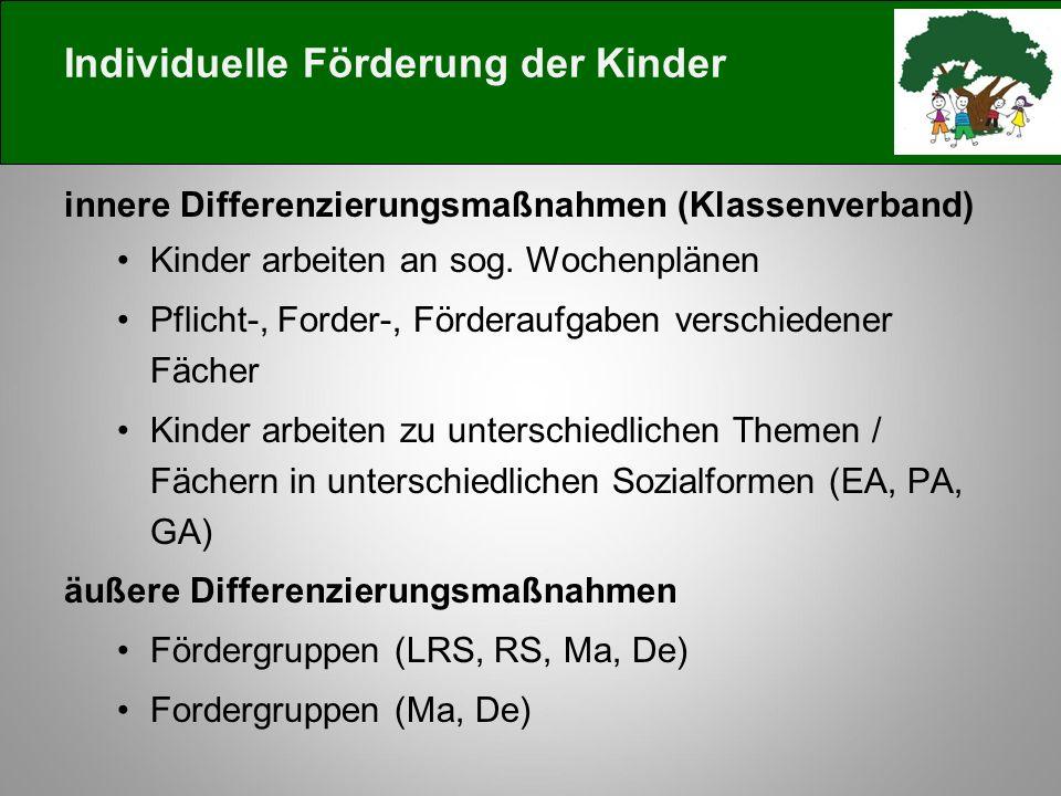 Individuelle Förderung der Kinder innere Differenzierungsmaßnahmen (Klassenverband) Kinder arbeiten an sog.