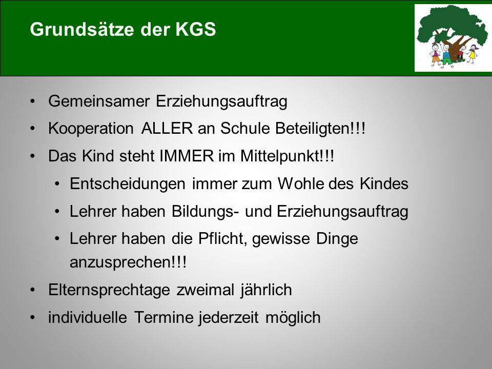 Grundsätze der KGS Gemeinsamer Erziehungsauftrag Kooperation ALLER an Schule Beteiligten!!.