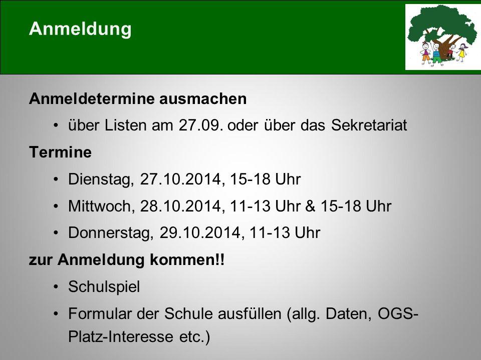 Anmeldung Anmeldetermine ausmachen über Listen am 27.09.
