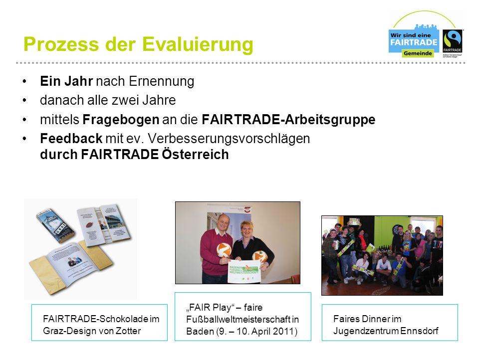 Ein Jahr nach Ernennung danach alle zwei Jahre mittels Fragebogen an die FAIRTRADE-Arbeitsgruppe Feedback mit ev. Verbesserungsvorschlägen durch FAIRT
