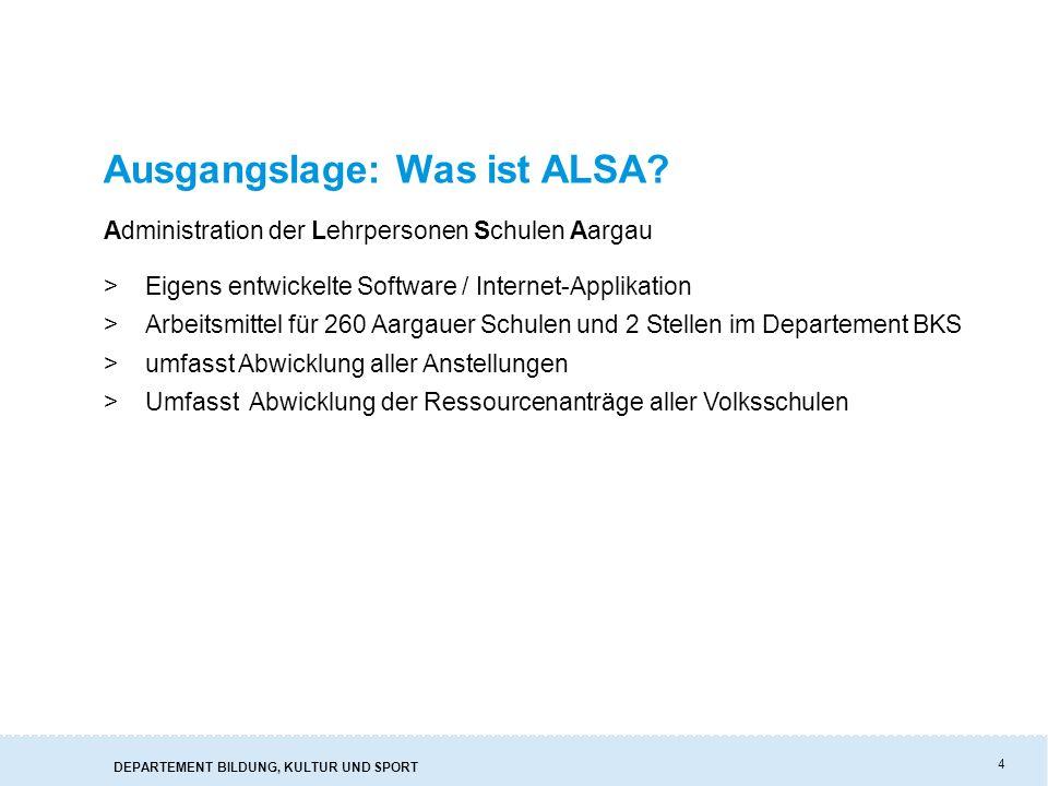 DEPARTEMENT BILDUNG, KULTUR UND SPORT 4 Ausgangslage: Was ist ALSA.