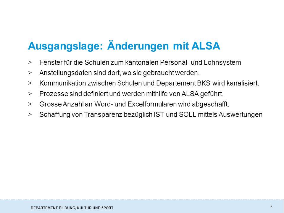 DEPARTEMENT BILDUNG, KULTUR UND SPORT 5 Ausgangslage: Änderungen mit ALSA >Fenster für die Schulen zum kantonalen Personal- und Lohnsystem >Anstellungsdaten sind dort, wo sie gebraucht werden.