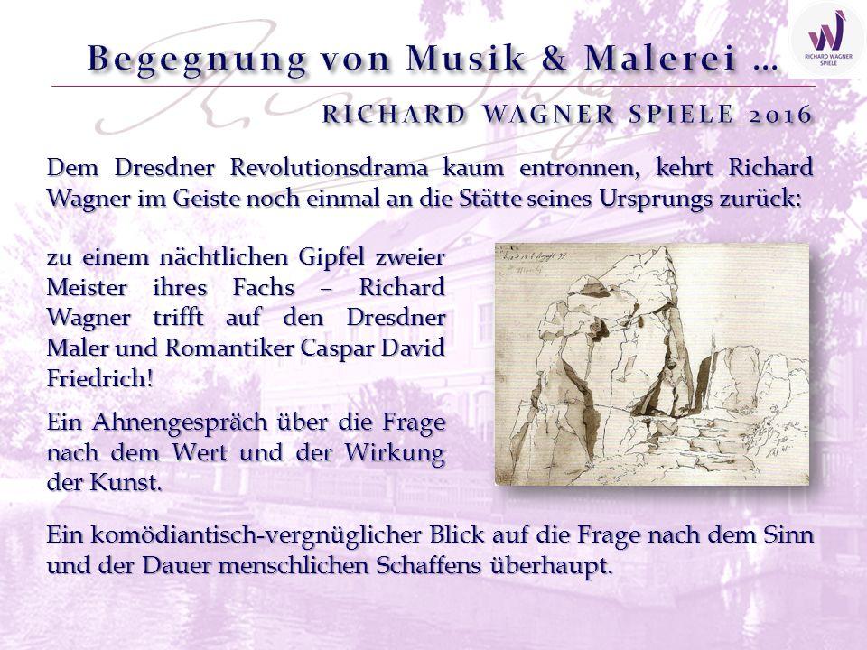 Dem Dresdner Revolutionsdrama kaum entronnen, kehrt Richard Wagner im Geiste noch einmal an die Stätte seines Ursprungs zurück: zu einem nächtlichen Gipfel zweier Meister ihres Fachs – Richard Wagner trifft auf den Dresdner Maler und Romantiker Caspar David Friedrich.