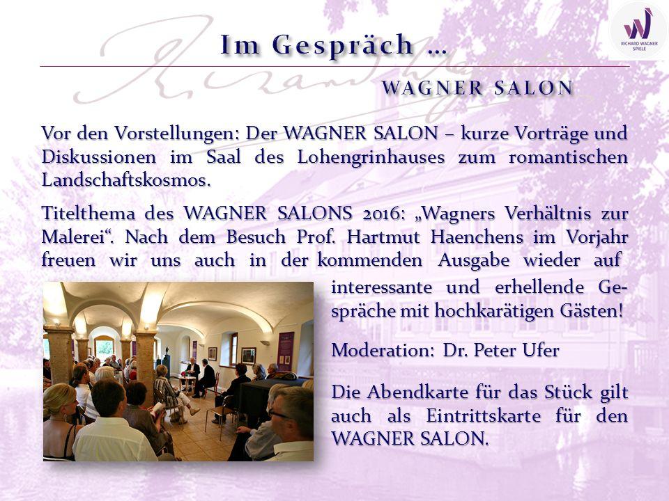 Vor den Vorstellungen: Der WAGNER SALON – kurze Vorträge und Diskussionen im Saal des Lohengrinhauses zum romantischen Landschaftskosmos.