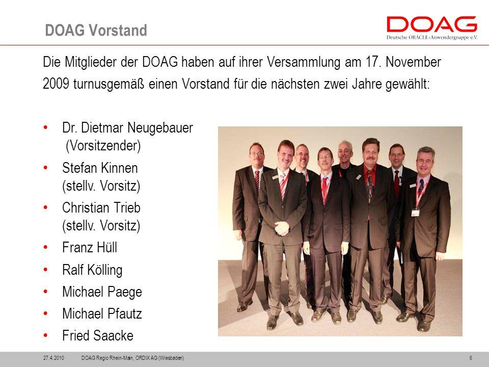 27.4.20106 DOAG Vorstand Die Mitglieder der DOAG haben auf ihrer Versammlung am 17.