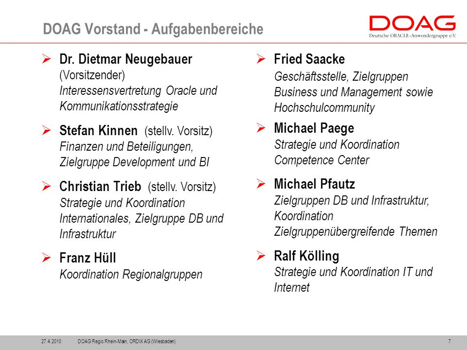 27.4.20107 DOAG Vorstand - Aufgabenbereiche  Dr.