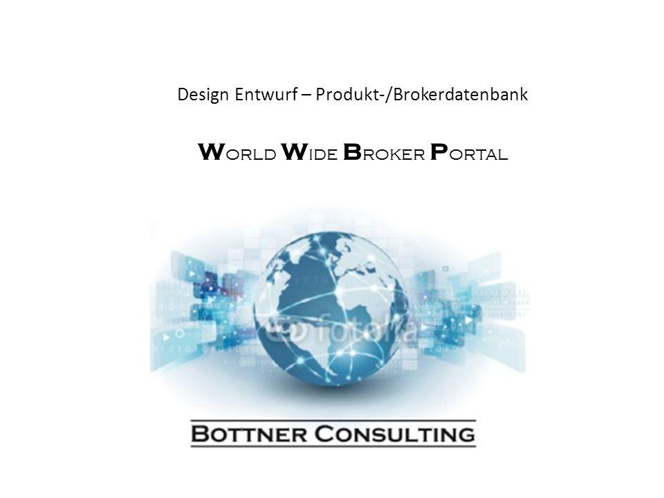 Design Entwurf – Produkt-/Brokerdatenbank W orld W ide B roker P ortal