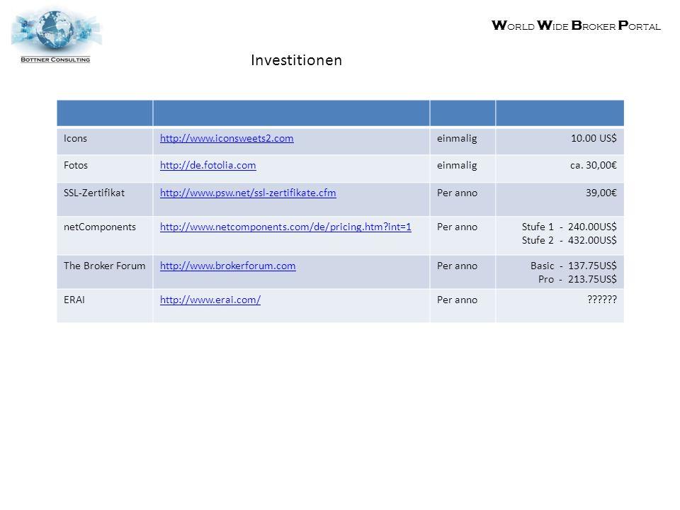 W orld W ide B roker P ortal Investitionen Iconshttp://www.iconsweets2.comeinmalig10.00 US$ Fotoshttp://de.fotolia.comeinmaligca.
