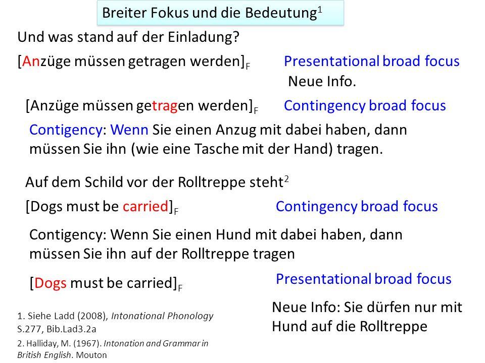 'Corrective (contrastive) focus' Die Korrektur ist in der neuen Information 'Counter presuppositional focus' Die Korrektur liegt in dem angenommenen H