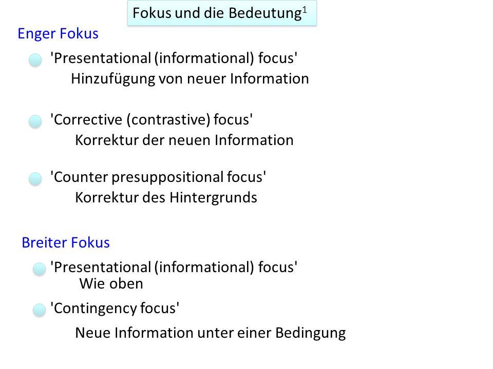 Fokussierung wird nicht unbedingt durch die erzeugten Wörter in einer davor kommenden Frage festgelegt, sondern etwas abstrakter von der beteiligten I