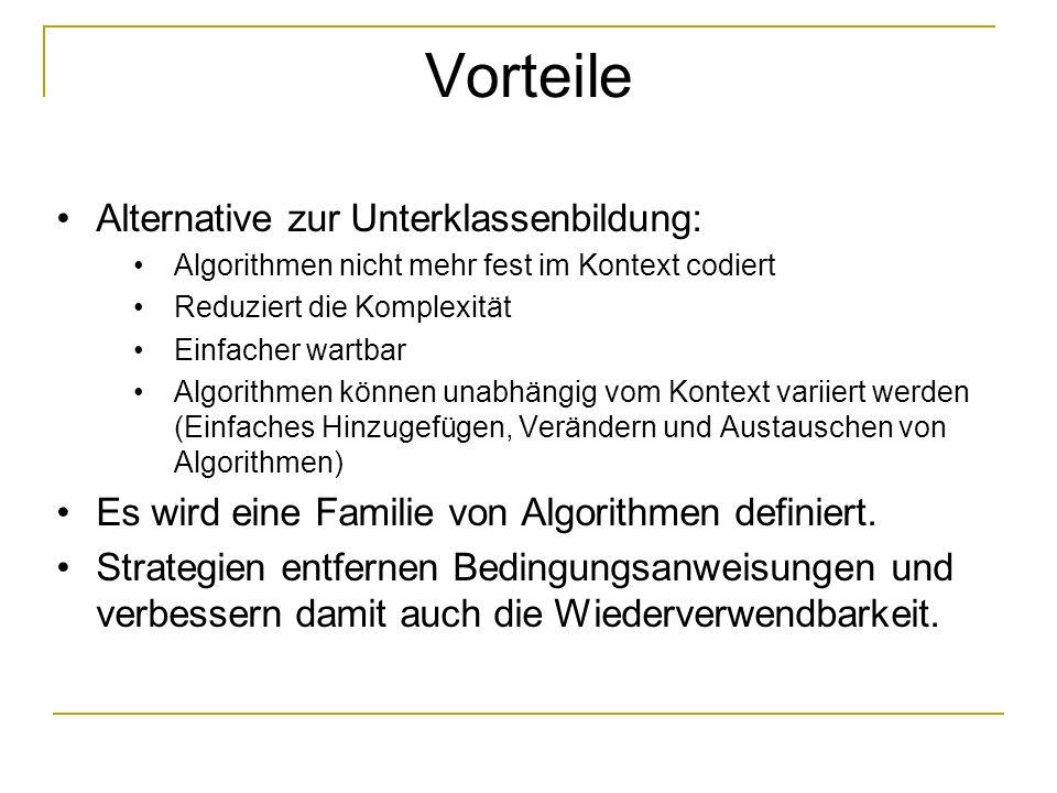 Vorteile Alternative zur Unterklassenbildung: Algorithmen nicht mehr fest im Kontext codiert Reduziert die Komplexität Einfacher wartbar Algorithmen können unabhängig vom Kontext variiert werden (Einfaches Hinzugefügen, Verändern und Austauschen von Algorithmen) Es wird eine Familie von Algorithmen definiert.