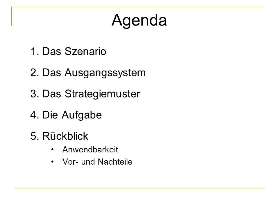 Agenda 1. Das Szenario 2. Das Ausgangssystem 3. Das Strategiemuster 4.