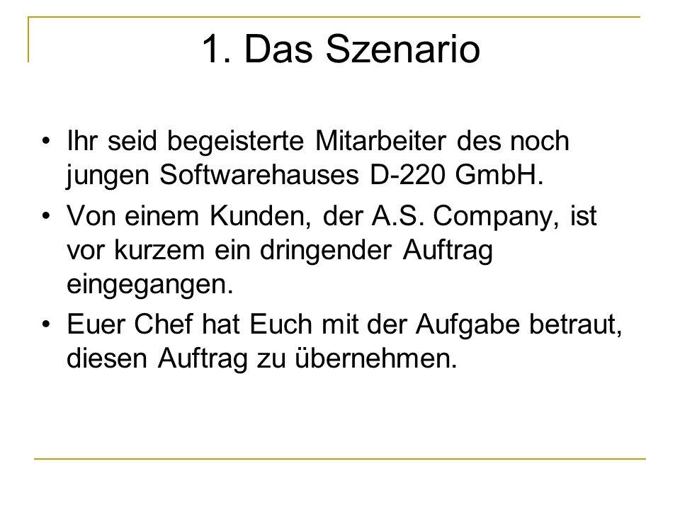 1. Das Szenario Ihr seid begeisterte Mitarbeiter des noch jungen Softwarehauses D-220 GmbH.