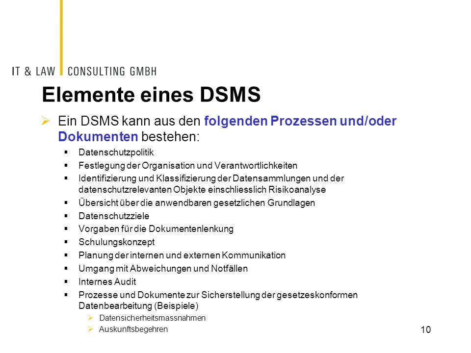 Elemente eines DSMS  Ein DSMS kann aus den folgenden Prozessen und/oder Dokumenten bestehen:  Datenschutzpolitik  Festlegung der Organisation und V