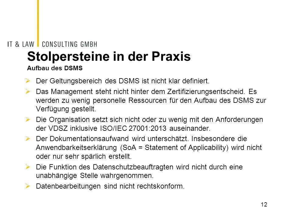 Stolpersteine in der Praxis Aufbau des DSMS  Der Geltungsbereich des DSMS ist nicht klar definiert.  Das Management steht nicht hinter dem Zertifizi