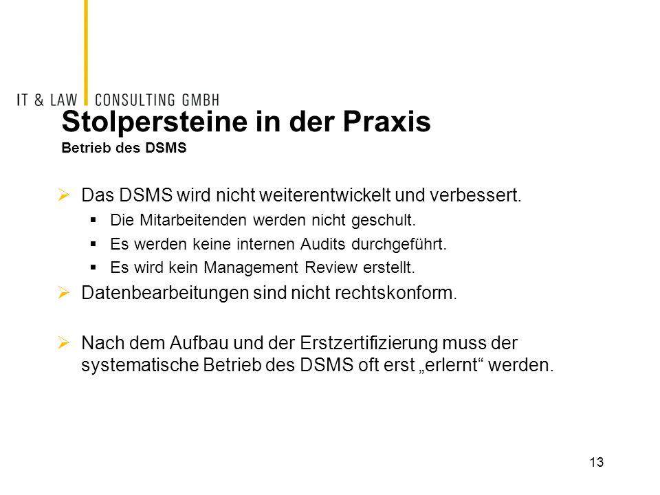 Stolpersteine in der Praxis Betrieb des DSMS  Das DSMS wird nicht weiterentwickelt und verbessert.  Die Mitarbeitenden werden nicht geschult.  Es w