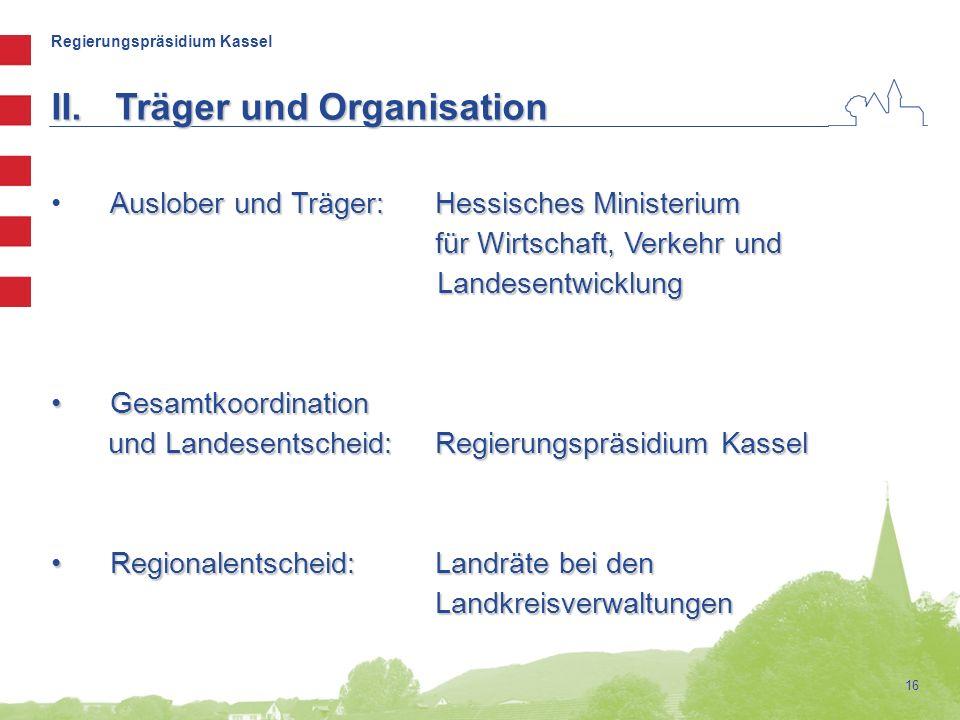 Regierungspräsidium Kassel 16 II.Träger und Organisation Auslober und Träger:Hessisches Ministerium für Wirtschaft, Verkehr und Landesentwicklung Gesa
