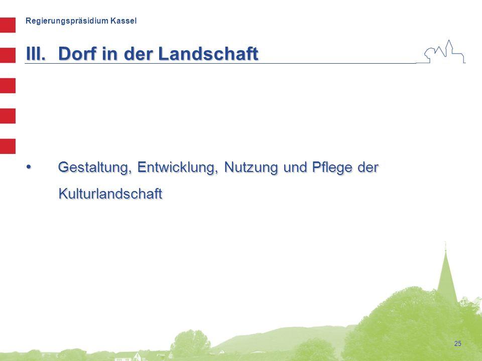 Regierungspräsidium Kassel 25 III.Dorf in der Landschaft Gestaltung, Entwicklung, Nutzung und Pflege der Gestaltung, Entwicklung, Nutzung und Pflege d