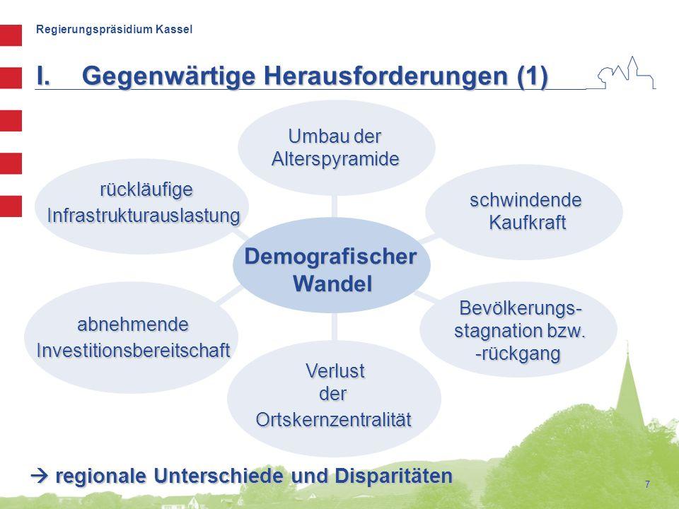 Regierungspräsidium Kassel 7 I.Gegenwärtige Herausforderungen (1) DemografischerWandel schwindendeKaufkraft Bevölkerungs- stagnation bzw. -rückgang Um