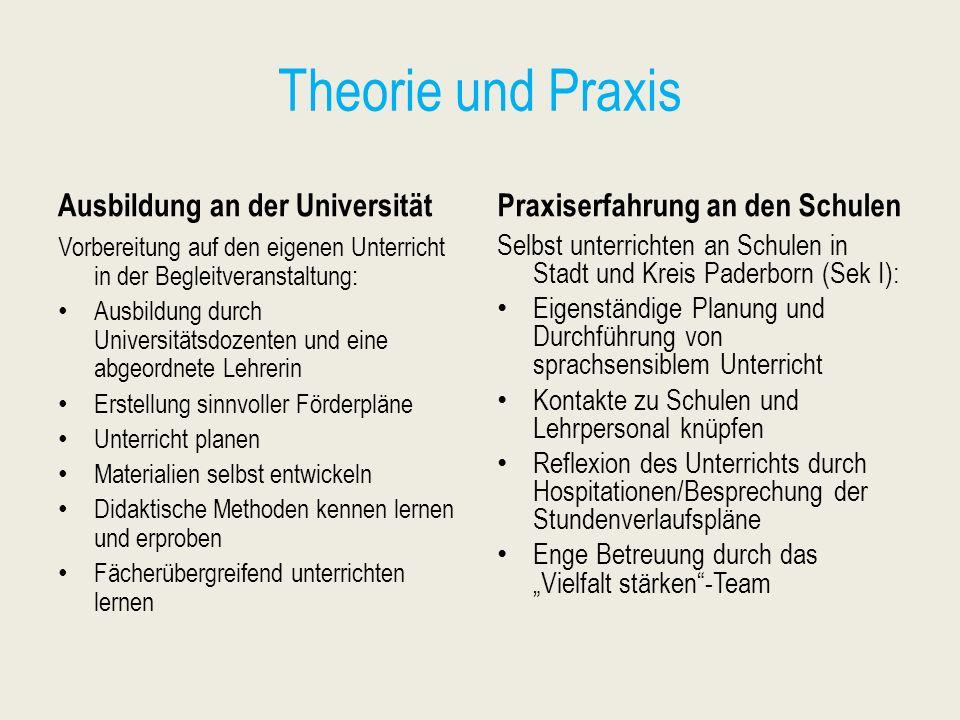 Theorie und Praxis Ausbildung an der Universität Vorbereitung auf den eigenen Unterricht in der Begleitveranstaltung: Ausbildung durch Universitätsdoz