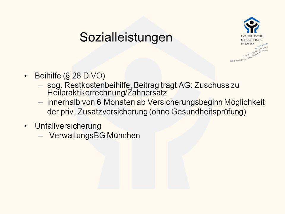 Sozialleistungen Beihilfe (§ 28 DiVO) –sog. Restkostenbeihilfe, Beitrag trägt AG: Zuschuss zu Heilpraktikerrechnung/Zahnersatz –innerhalb von 6 Monate