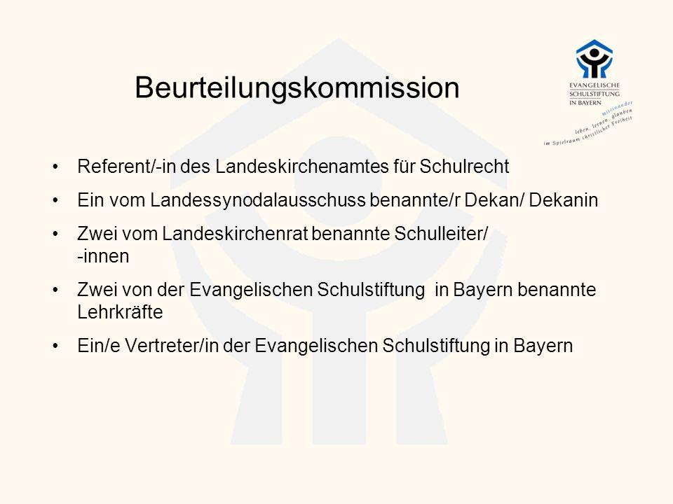 Beurteilungskommission Referent/-in des Landeskirchenamtes für Schulrecht Ein vom Landessynodalausschuss benannte/r Dekan/ Dekanin Zwei vom Landeskirc