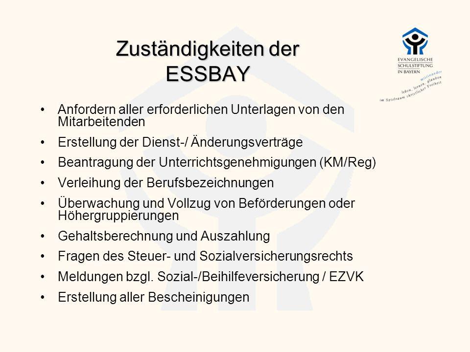 Zuständigkeiten der ESSBAY Anfordern aller erforderlichen Unterlagen von den Mitarbeitenden Erstellung der Dienst-/ Änderungsverträge Beantragung der