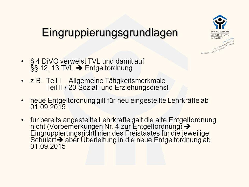 Eingruppierungsgrundlagen § 4 DiVO verweist TVL und damit auf §§ 12, 13 TVL  Entgeltordnung z.B. Teil I Allgemeine Tätigkeitsmerkmale Teil II / 20 So