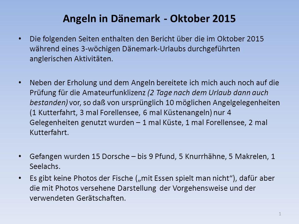Angeln in Dänemark - Oktober 2015 1 Die folgenden Seiten enthalten den Bericht über die im Oktober 2015 während eines 3-wöchigen Dänemark-Urlaubs durc
