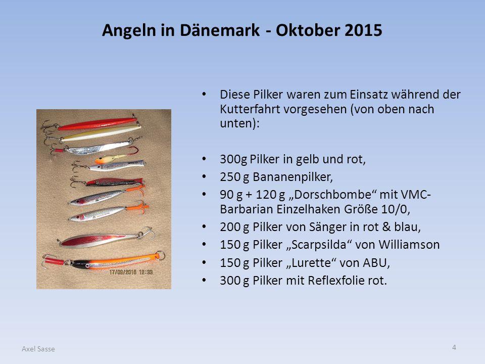 4 Axel Sasse Diese Pilker waren zum Einsatz während der Kutterfahrt vorgesehen (von oben nach unten): 300g Pilker in gelb und rot, 250 g Bananenpilker