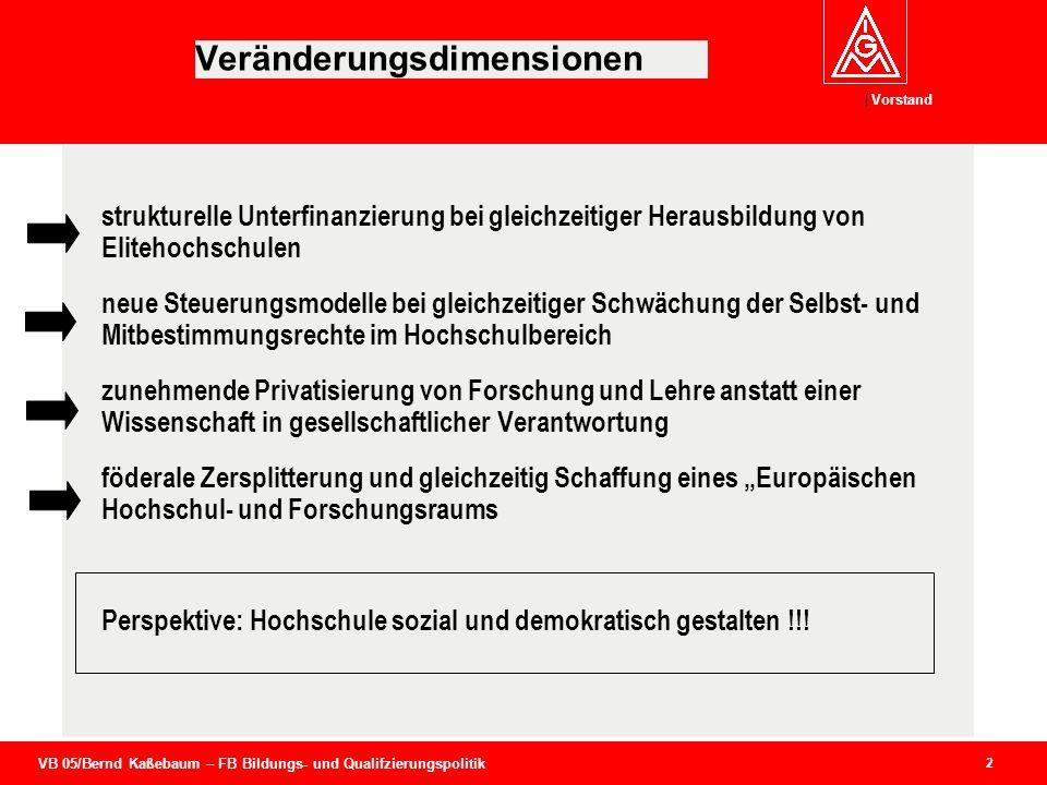 VB 05/Bernd Kaßebaum – FB Bildungs- und Qualifzierungspolitik Vorstand 2 Veränderungsdimensionen strukturelle Unterfinanzierung bei gleichzeitiger Her
