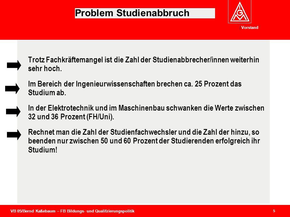 VB 05/Bernd Kaßebaum – FB Bildungs- und Qualifzierungspolitik Vorstand 5 Problem Studienabbruch Trotz Fachkräftemangel ist die Zahl der Studienabbrech