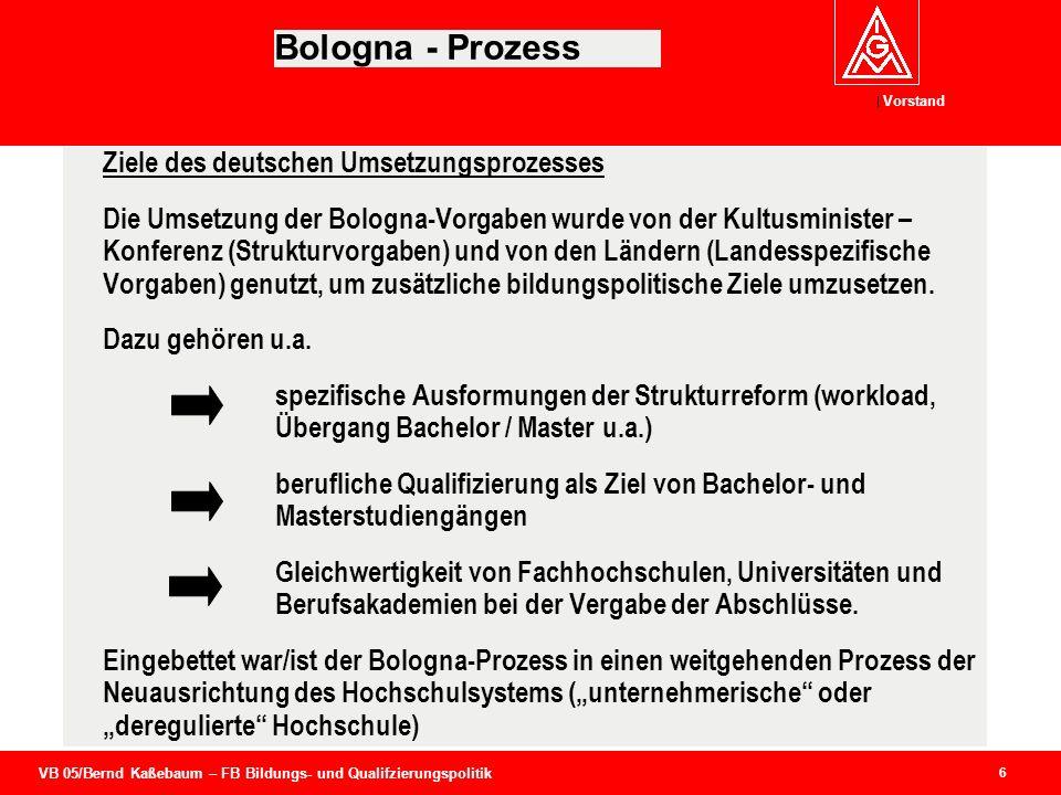 VB 05/Bernd Kaßebaum – FB Bildungs- und Qualifzierungspolitik Vorstand 6 Bologna - Prozess Ziele des deutschen Umsetzungsprozesses Die Umsetzung der B
