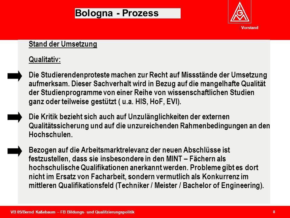 VB 05/Bernd Kaßebaum – FB Bildungs- und Qualifzierungspolitik Vorstand 8 Bologna - Prozess Stand der Umsetzung Qualitativ: Die Studierendenproteste ma