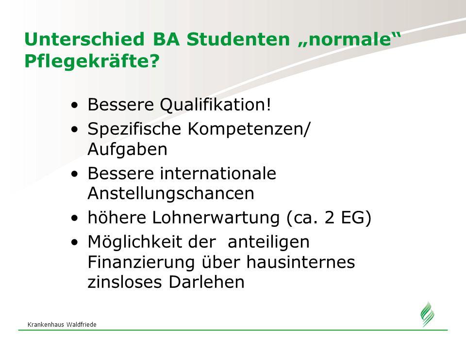 """Krankenhaus Waldfriede Unterschied BA Studenten """"normale"""" Pflegekräfte? Bessere Qualifikation! Spezifische Kompetenzen/ Aufgaben Bessere international"""