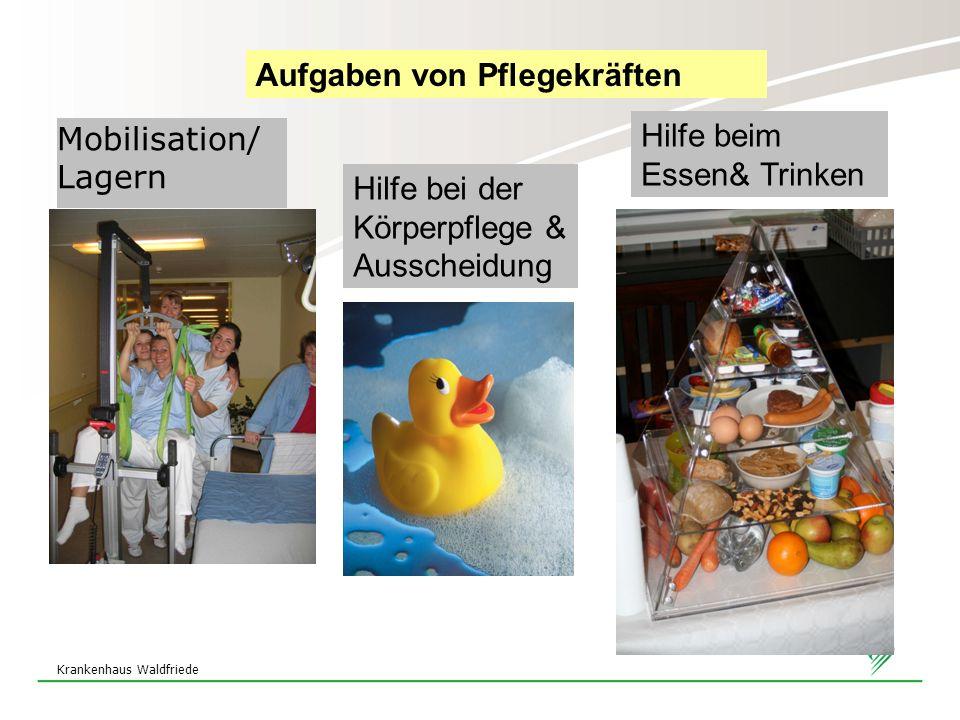 Krankenhaus Waldfriede Mobilisation/ Lagern Hilfe bei der Körperpflege & Ausscheidung Hilfe beim Essen& Trinken Aufgaben von Pflegekräften