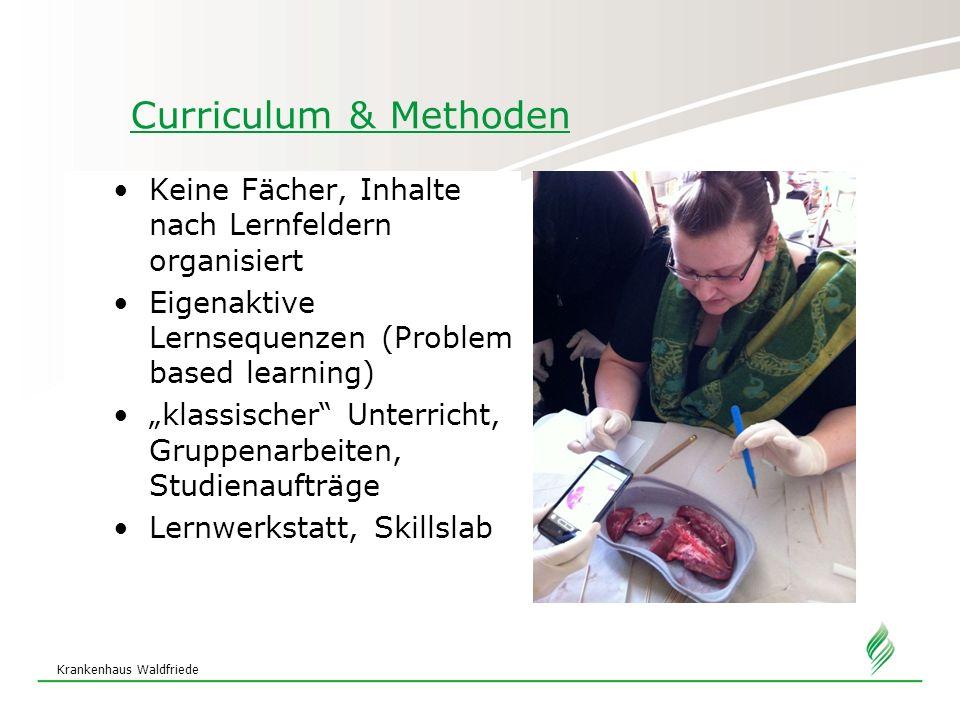 """Krankenhaus Waldfriede Curriculum & Methoden Keine Fächer, Inhalte nach Lernfeldern organisiert Eigenaktive Lernsequenzen (Problem based learning) """"kl"""
