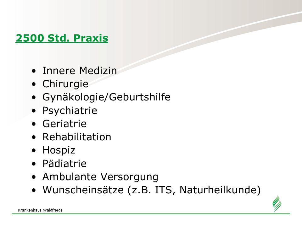 Krankenhaus Waldfriede 2500 Std. Praxis Innere Medizin Chirurgie Gynäkologie/Geburtshilfe Psychiatrie Geriatrie Rehabilitation Hospiz Pädiatrie Ambula