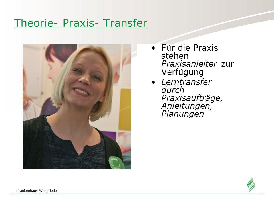 Krankenhaus Waldfriede Theorie- Praxis- Transfer Für die Praxis stehen Praxisanleiter zur Verfügung Lerntransfer durch Praxisaufträge, Anleitungen, Pl