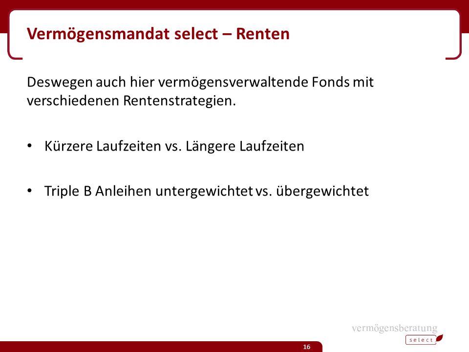 Vermögensmandat select – Renten Deswegen auch hier vermögensverwaltende Fonds mit verschiedenen Rentenstrategien.