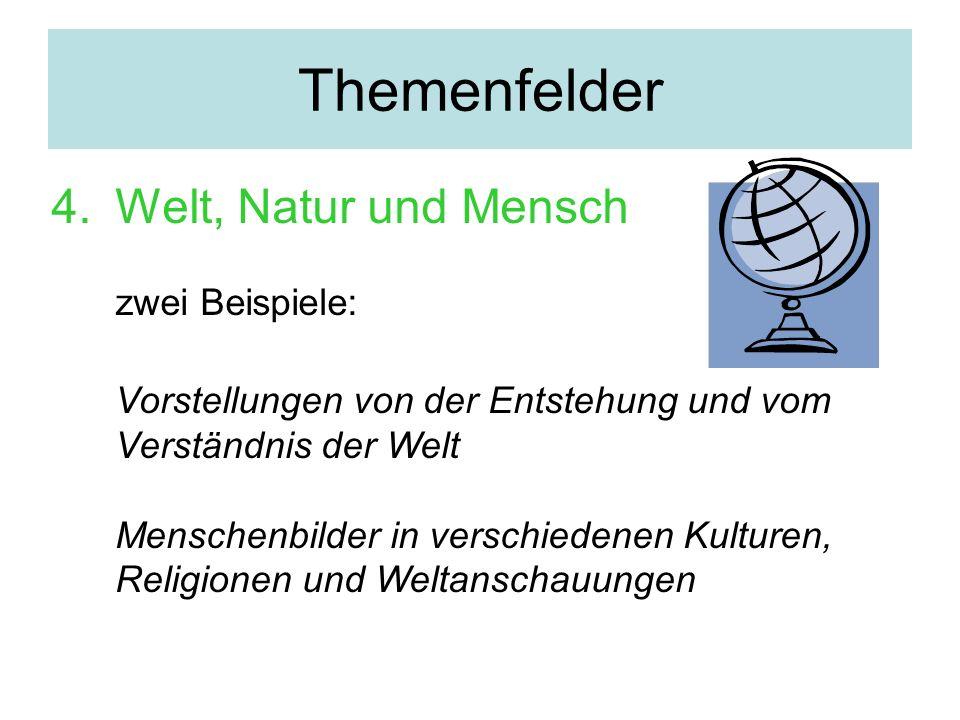 Themenfelder 4.Welt, Natur und Mensch zwei Beispiele: Vorstellungen von der Entstehung und vom Verständnis der Welt Menschenbilder in verschiedenen Ku