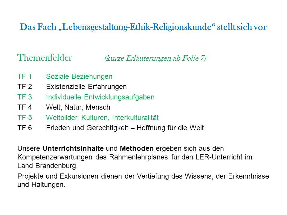 """Das Fach """"Lebensgestaltung-Ethik-Religionskunde"""" stellt sich vor Themenfelder (kurze Erläuterungen ab Folie 7) TF 1Soziale Beziehungen TF 2Existenziel"""