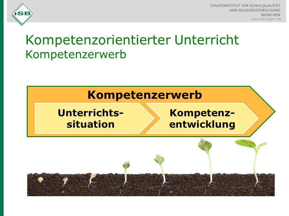 Kompetenzerwerb Kompetenzorientierter Unterricht Kompetenzerwerb Unterrichts- situation Kompetenz- entwicklung