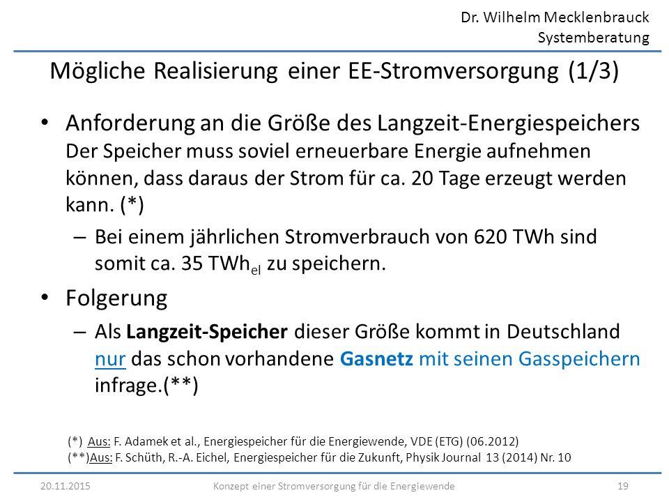 Dr. Wilhelm Mecklenbrauck Systemberatung 20.11.201519Konzept einer Stromversorgung für die Energiewende Mögliche Realisierung einer EE-Stromversorgung