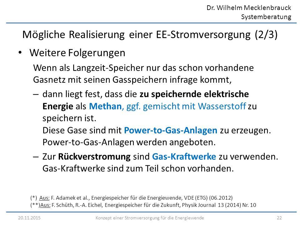 Dr. Wilhelm Mecklenbrauck Systemberatung 20.11.201522Konzept einer Stromversorgung für die Energiewende Mögliche Realisierung einer EE-Stromversorgung