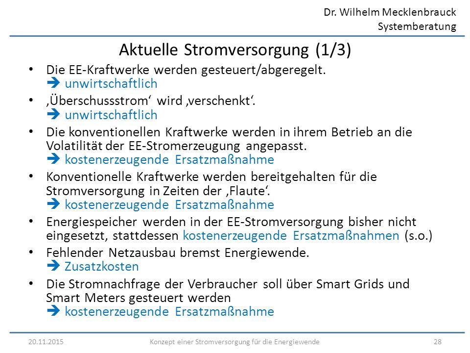 Dr. Wilhelm Mecklenbrauck Systemberatung 20.11.201528Konzept einer Stromversorgung für die Energiewende Aktuelle Stromversorgung (1/3) Die EE-Kraftwer