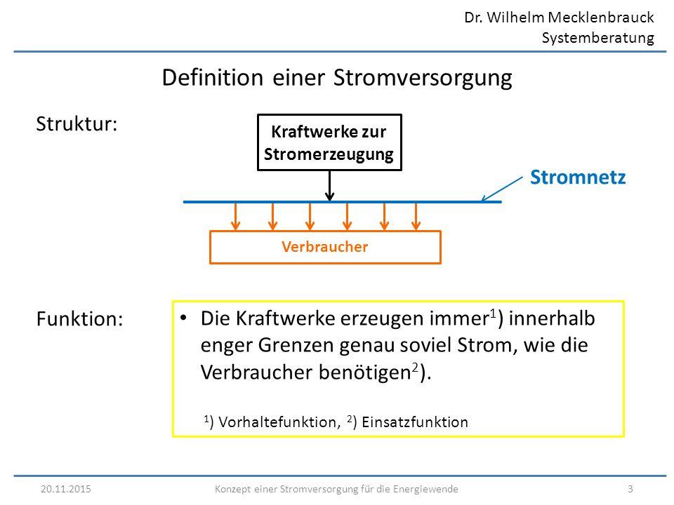 Dr. Wilhelm Mecklenbrauck Systemberatung 20.11.20153Konzept einer Stromversorgung für die Energiewende Definition einer Stromversorgung Die Kraftwerke